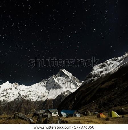 Starry sky over Machhepuchare and Annapurna Base Camp - Nepal, H Stock photo © meinzahn