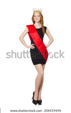 Fashion girl model. Beauty contest winner isolated on the black  Stock photo © Victoria_Andreas