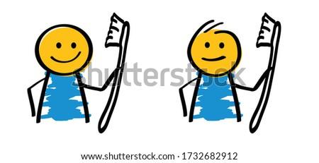 Cartoon glimlachend tand gedachte bel hand ontwerp Stockfoto © lineartestpilot