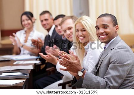 ストックフォト: 拍手 · 笑みを浮かべて · オフィス · 手