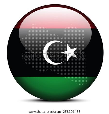 Map with Dot Pattern on flag button of Libya (Libian Arab Jamahi Stock photo © Istanbul2009