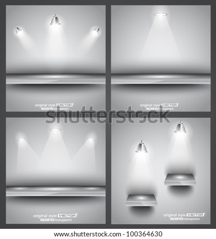 collection of spotlights and shelves for product advertisement stock photo © davidarts