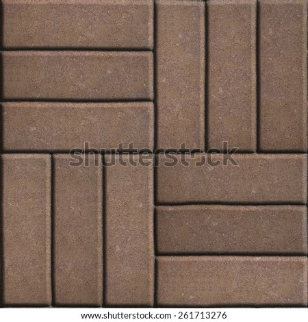 Brown Paving Slabs of Rectangles Laid Out on Three Pieces Perpendicular to Each Other. Stock photo © tashatuvango