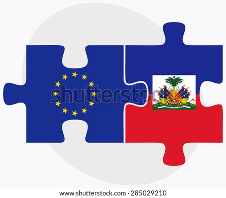 european union and haiti flags in puzzle isolated on white backg stock photo © istanbul2009