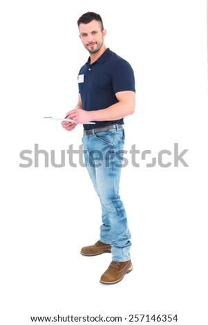 мужчины руководитель Дать буфер обмена белый Сток-фото © wavebreak_media