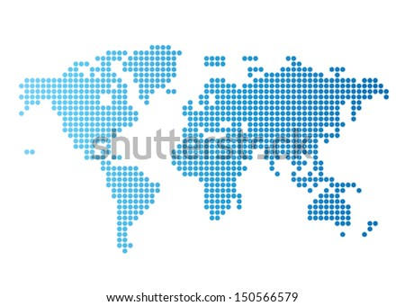 abstract computer graphic world map of blue round dots stock photo © teerawit