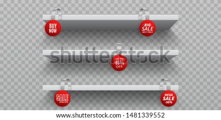 Stock photo: Vector Blank Wobbler with Transparent Strip Isolated on a White