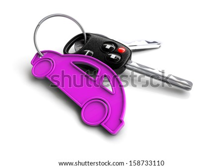 Car keys with pink spanner icon as keyring. Car service and repa Stock photo © crashtackle