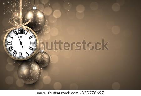 Golden new 2016 year background with xmas clock, vector illustration Stock photo © carodi