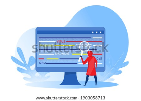 Stock photo: Hooded computer hacker with magnifying glass stealing internet p