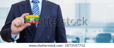 Credit card with Burma flag background for bank, presentations and business. Isolated on white Stock photo © tkacchuk