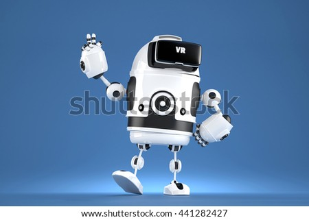 handsome 3d robot with vr glasses 3d illustration contains clipping path stock photo © kirill_m