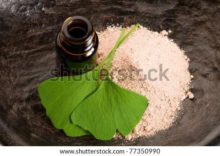 ginkgo biloba leaf and bath salt stock photo © joannawnuk