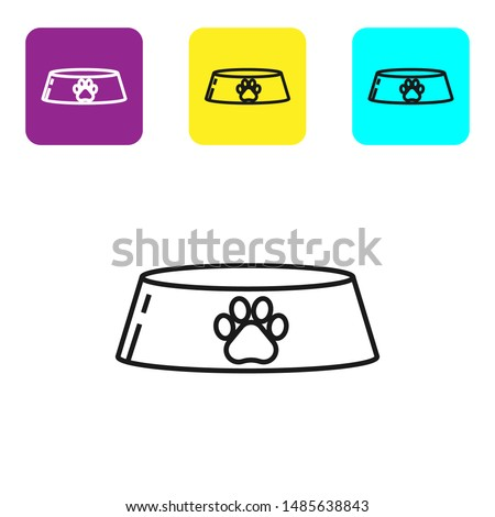 vector set of colorful plastic dog bowls with dog food and popul stock photo © freesoulproduction