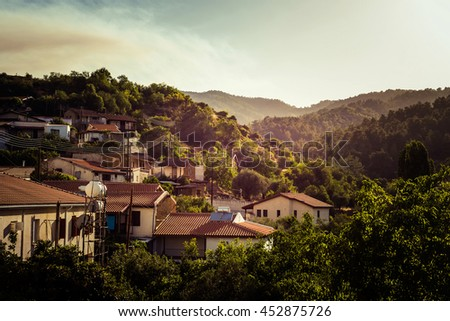 Kleurrijk zomer zonsondergang dorp wijk Cyprus Stockfoto © Kirill_M