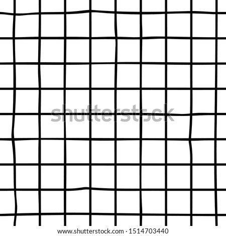 Stock photo: Vector Seamless Black And White Hand Drawn Checker Lines Pattern