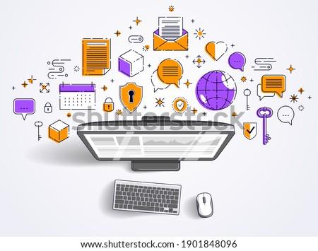 calendar line design vector illustration top view business pla
