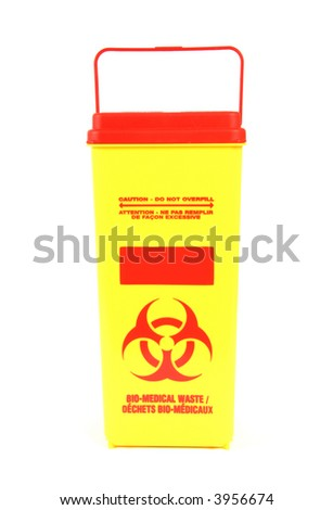 Yellow medical disposal waste box, syringe needle with red drop on the tip Stock photo © Klinker