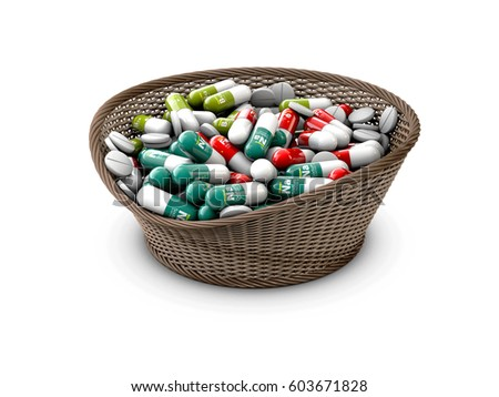 Colorful capsules with vitamins and minerals in the basket, 3d Illustration isolated black Stock photo © tussik