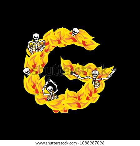 Llamas fuente ardiente fuego alfabeto Foto stock © popaukropa