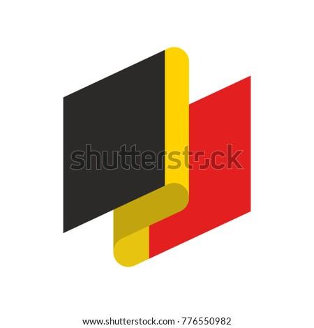 Belgium flag ribbon isolated. Belg tape banner. National symbol  Stock photo © popaukropa