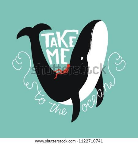 Elvesz engem tenger bálna sziluett vízfesték Stock fotó © masay256