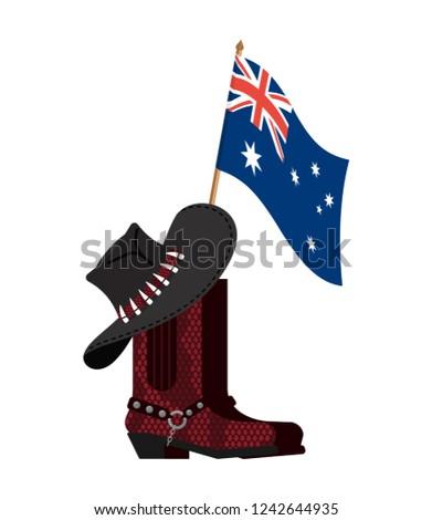 Australië vlag australisch hoed krokodil huid Stockfoto © popaukropa