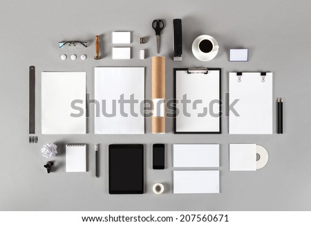 Mock-up business template with cards, papers, tablet. Gray background. Stock photo © master1305