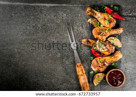 Grillcsirke lábak szárnyak barbecue szósz mustár köteg Stock fotó © mpessaris