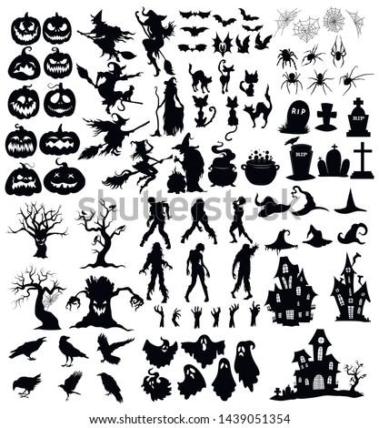 pumpkin vector icons set halloween scary faces design set horror decoration stock photo © redkoala