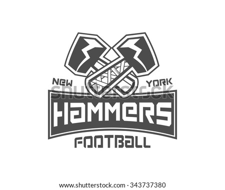 Amerikaanse voetbal label hamer logo element Stockfoto © JeksonGraphics