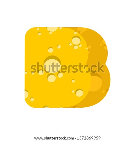 Letter B cheese font. Symbol of cheesy alphabet. Dairy Food type Stock photo © popaukropa