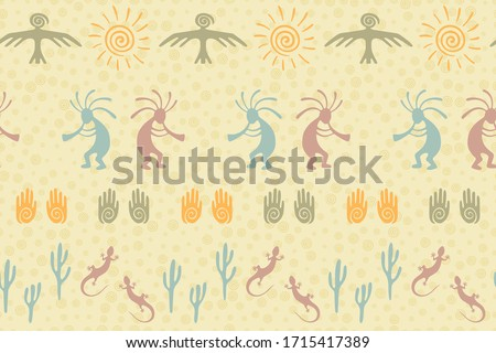 Mexican folk seamless vector background - colorful long designs with flowers  Stock photo © RedKoala