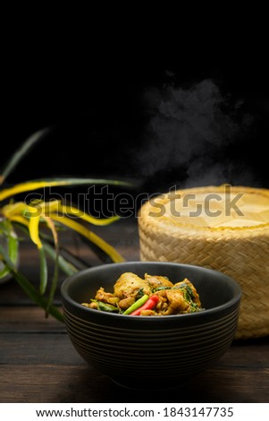 Lanna food Thai food Northern Thai Cuisine Rustic kitchen Old hand Hands are cooking Stock photo © artrachen