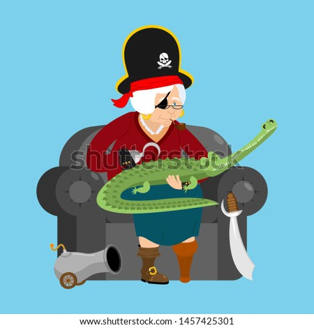 Grandmother pirate. Old buccaneer and crocodile. grandma on chai Stock photo © popaukropa