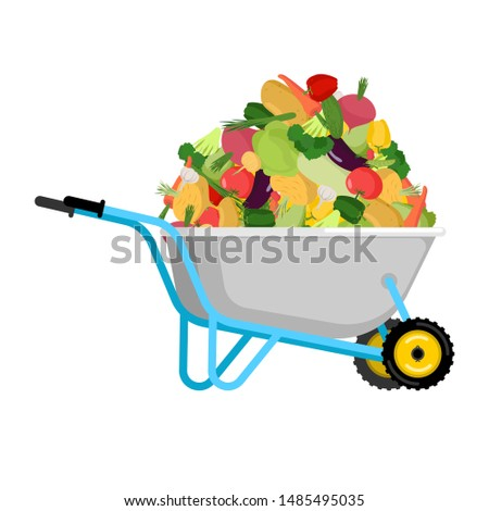 wheelbarrow and tomato vegetables in garden trolley big harves stock photo © popaukropa