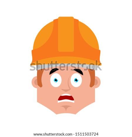 Oluşturucu korkmuş duygu avatar işçi kask Stok fotoğraf © popaukropa