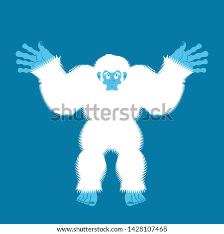 Yeti guilty. Bigfoot surprise. Abominable snowman culpablen. Vec Stock photo © popaukropa