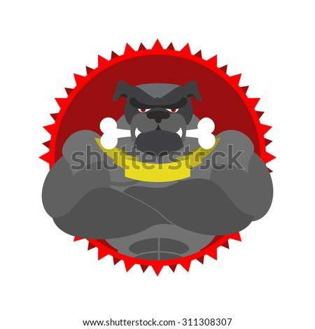 Angry dog Round emblem. Large Bulldog bodybuilder with bone. Vec Stock photo © popaukropa