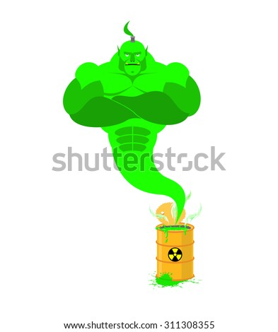 Acid Genie of barrels of toxic waste. Green Magic spirit. Vector Stock photo © popaukropa