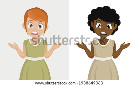 Surprised african woman throwing up his hands vector isolated on Stock photo © NikoDzhi