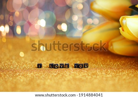 Declaration of love of decorative letters on a black background Stock photo © Kotenko