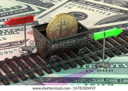 Miner and trolley of bitcoins. Mining Extraction of crypto curre Stock photo © MaryValery