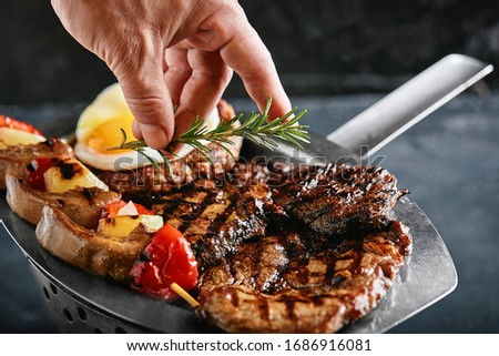 Assorted grilled vegetables.Chef cooking vegetables.top view clo stock photo © TanaCh