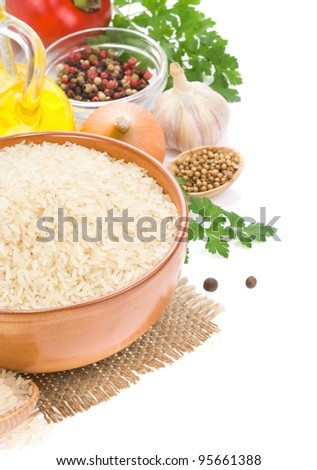 Red rice in wooden bowl and spoon. Groats in wood dish and shove Stock photo © MaryValery