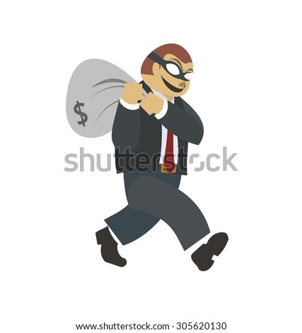 Businessman robber. Business robbery. Boss criminal. Vector illu Stock photo © MaryValery