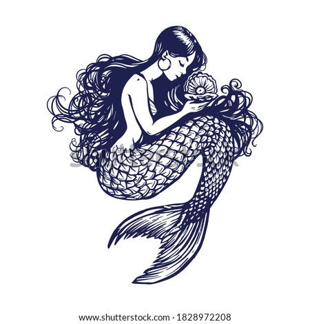 Deniz kızı dövme sualtı güzel bir kadın vektör kadın Stok fotoğraf © popaukropa