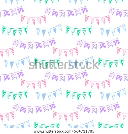 Bunting party flags garland seamless vector pattern. Good idea for birthday party, wedding celebrati Stock photo © mcherevan