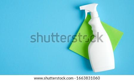 Vue nettoyage équipement spray bouteille table Photo stock © wavebreak_media