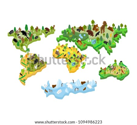 Mapa do mundo animal isométrica estilo terra continente Foto stock © popaukropa